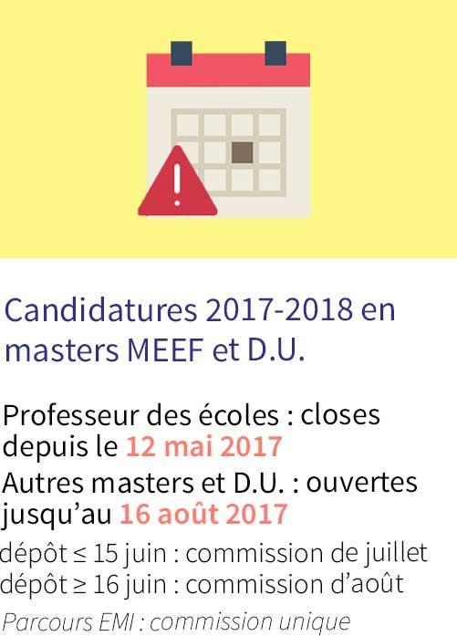 Candidatures 2017-2018 en master MEEF et DU