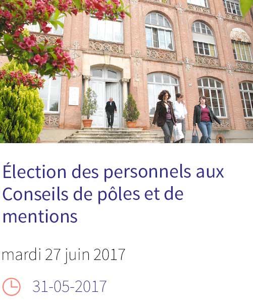 Election des personnels aux Conseils de pôles et de mentions