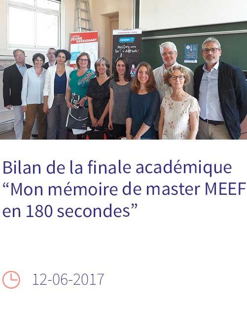 """Bilan de la finale académique """"Mon mémoire de master MEEF en 180 secondes"""""""