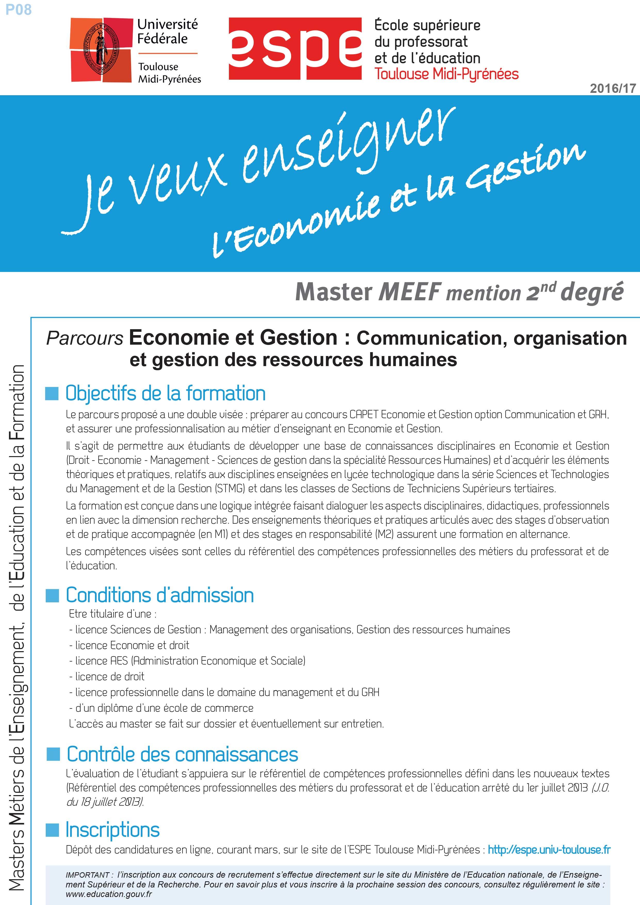 Master MEEF Economie et Gestion : Communication, organisation et gestion des ressources humaines
