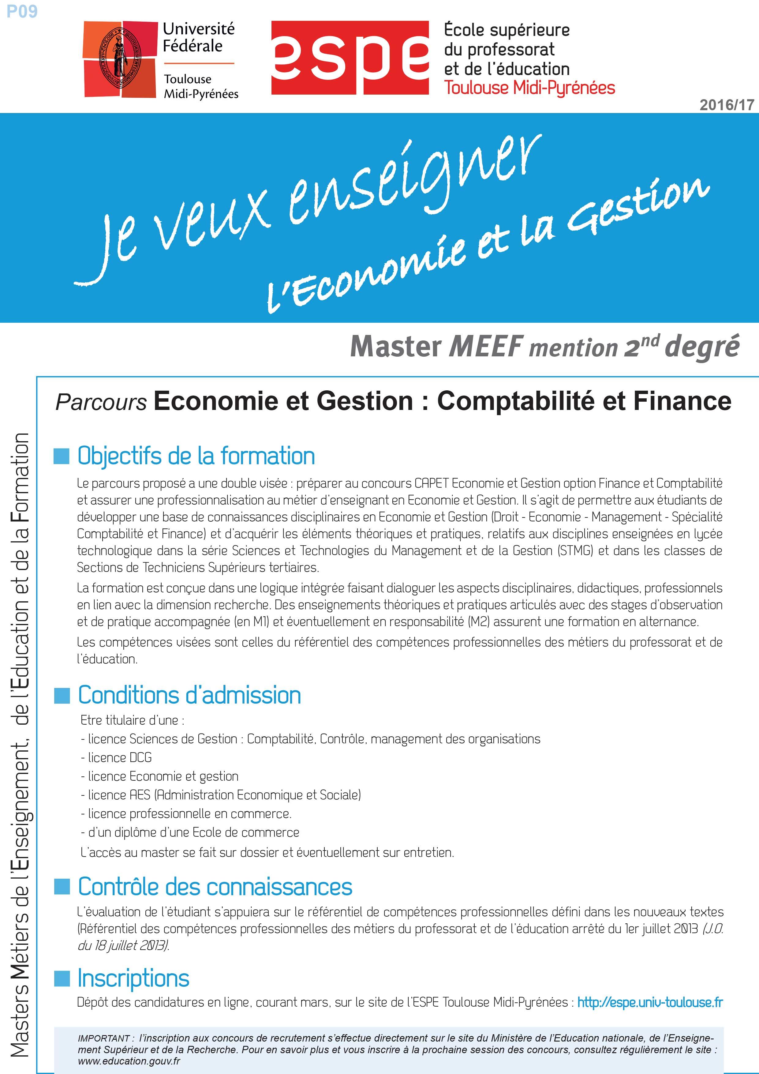 Master MEEF Economie et Gestion : Comptabilité et finance