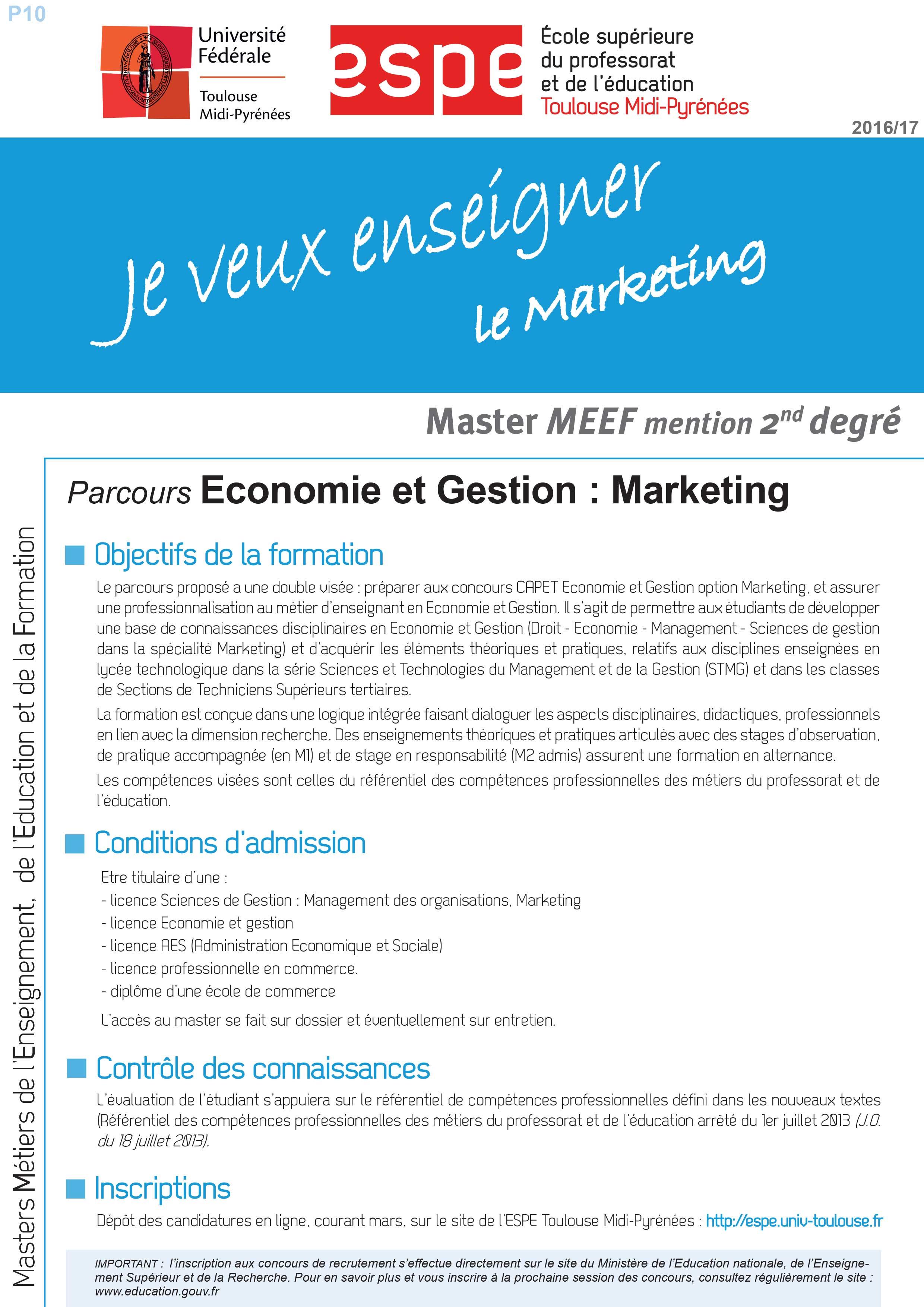 Master MEEF Economie et Gestion : Marketing