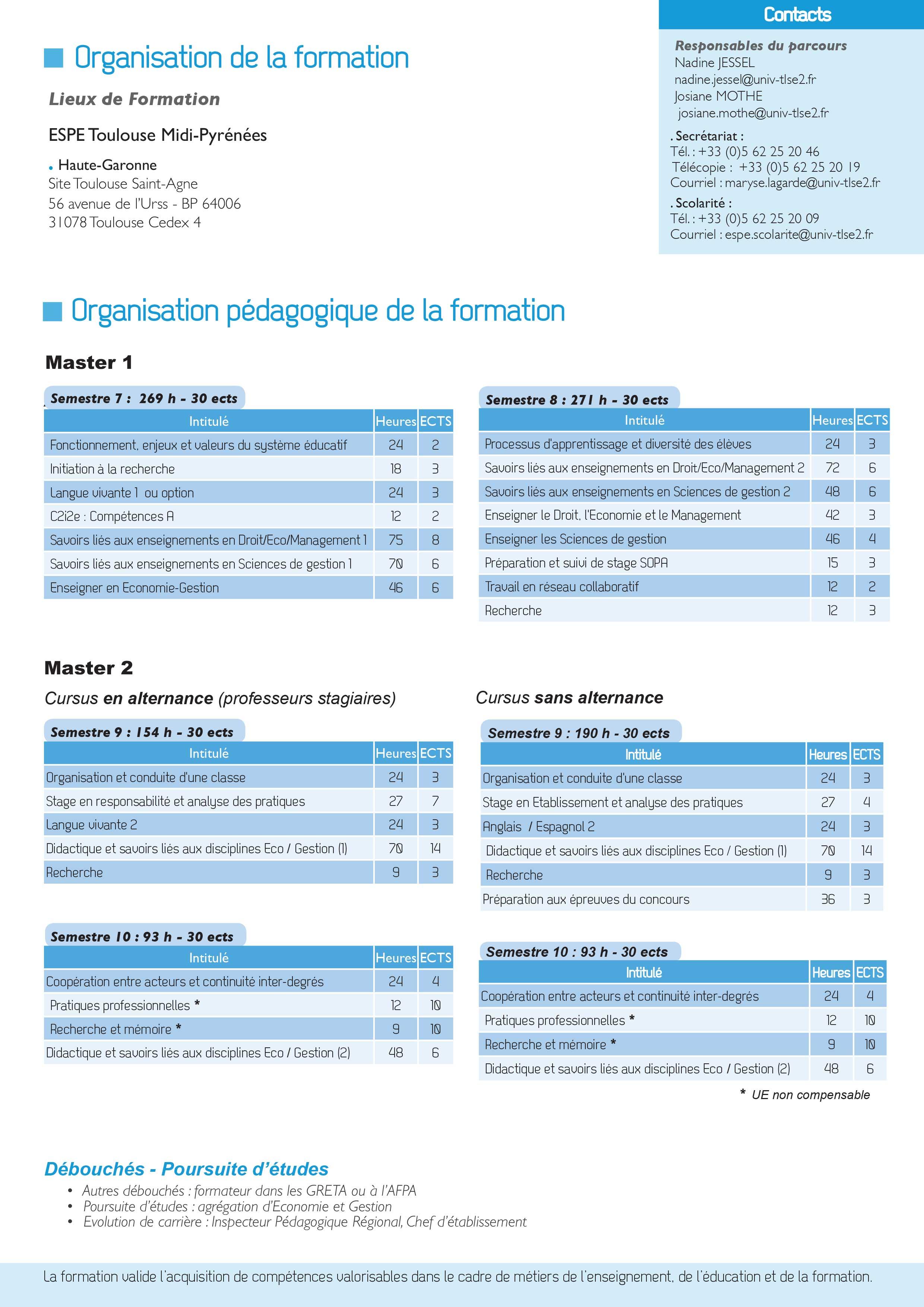 Master MEEF Economie et Gestion : Informatique et systèmes d'information