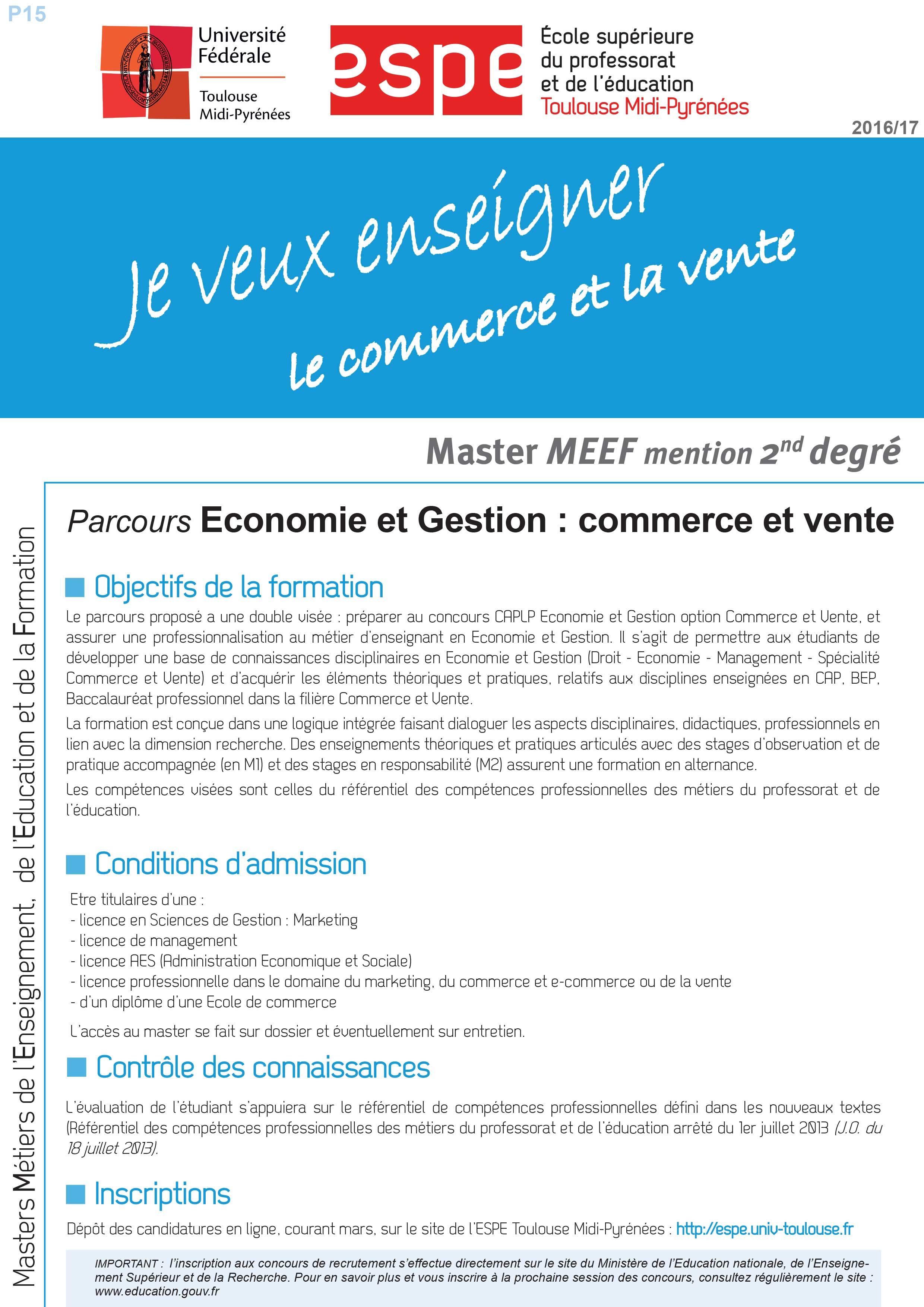 Master MEEF Economie et Gestion : Commerce et vente