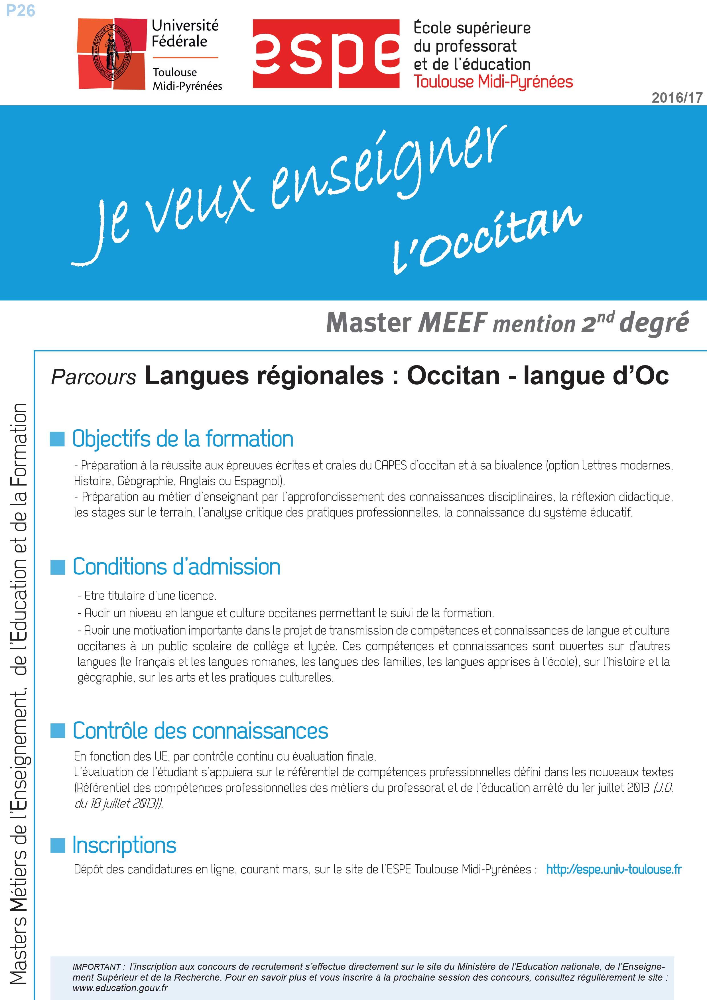 Master MEEF Langues régionales Occitan