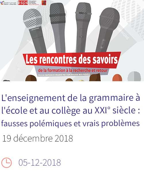 Rencontres des savoirs - conférence du 19/12